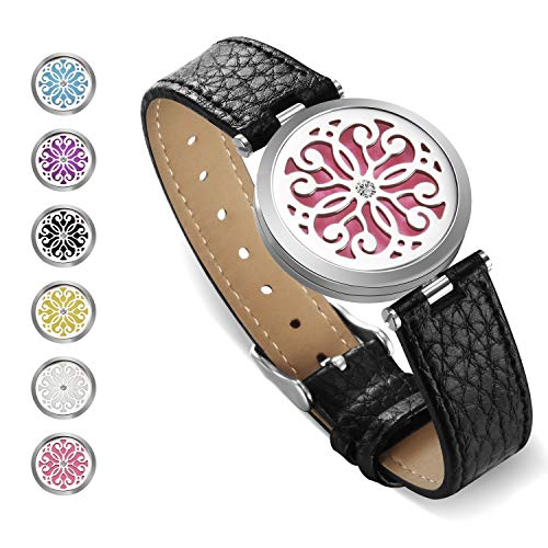 SS SHOVAN Aromatherapy Bracelet, Essential Oil Diffuser Bracelet Stainless Steel Aromatherapy Locket Bracelets for Women with 6 Color Pads,Girls Women Jewelry Set