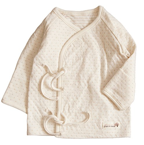 - Button Kimono Gown , 0~3 Months, 100% Organic Cotton (Kimono Shirt ( Choco Dot- Spring.Fall.Winter))