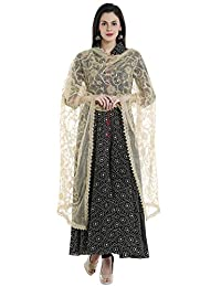 Dupatta Bazaar Women's Embroidered Gold Net Dupatta