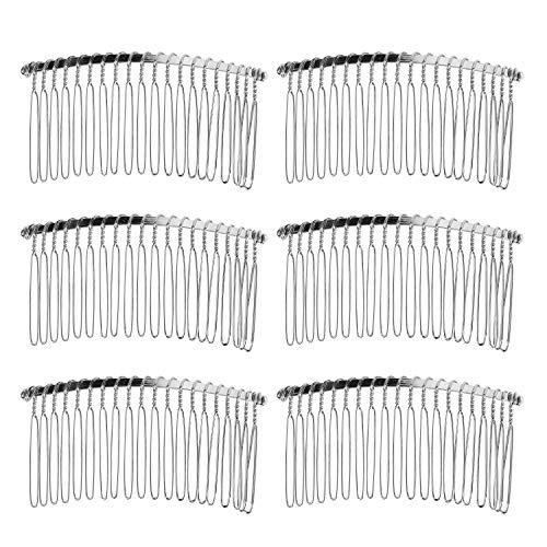 Senkary 10 Pieces Hair Clip Combs Metal Wire Hair Combs Bridal Wedding Veil Combs, 20 Teeth, Silver