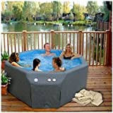 Portable Soft Sided Insulated Hot Tub Therapy Spa. Includes Locking Cover and Care Kit. Features 8 Jets and Interior Light. Ideal for Outdoors on Deck or Patio. Plugs Into Regular Wall Socket. Thermostat and Pump All Enclosed and Protected From Weather