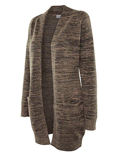 Cielo Women's Chunky Duster Marbled Knit Long Cardigan Sweater Khaki M