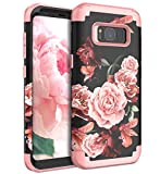 RabeMall Samsung Galaxy S8 Case Unique Pretty Flowers for Girls/Women Anti-Fingerprint Three Layer High Impact Resistant Hybrid Shockproof Protective Cover,Floral Rose Gold