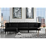 Mid Century Modern Style Linen Fabric Sleeper Futon Sofa, Living Room L Shape Sectional Couch with Reclining Backrest (Black)