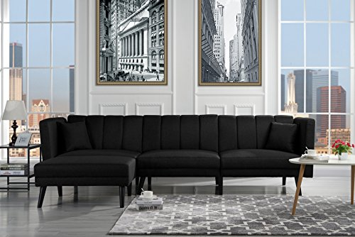 (Mid Century Modern Style Linen Fabric Sleeper Futon Sofa, Living Room L Shape Sectional Couch with Reclining Backrest (Black))