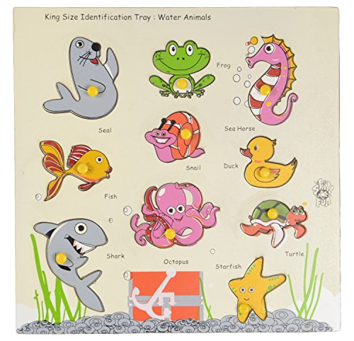 Skillofun Kingsize Identification Tray Water Animals with Knobs, Multi Color