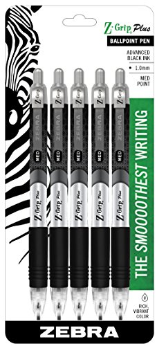 Zebra Pen Z-Grip Plus Retractable Ballpoint Pen, Medium Point, 1.0mm, Black Ink, 5-Count