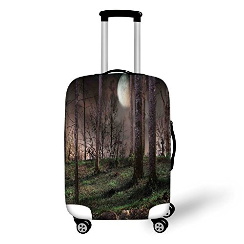 Travel Luggage Cover Suitcase Protector,Gothic,Dark Night in the Forest with Full Moon Horror Theme Grunge Style Halloween,Brown Green Yellow,for Travel for $<!--$29.99-->