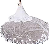 Fenghauvip 2 Tier Cathedral Wedding Veils 3D Butterfly Appliques Veils for Bride Free Comb