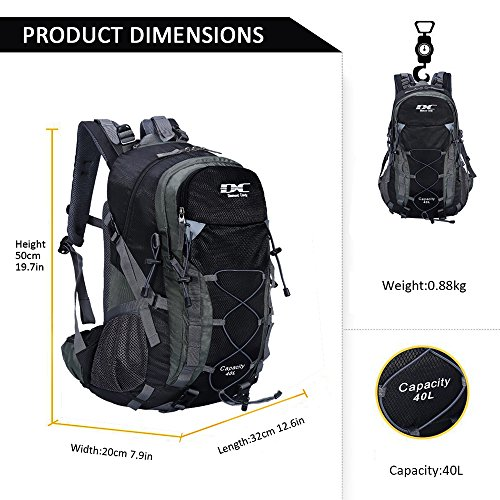 e07f17ce67 Diamond Candy Hiking Backpack Waterproof 40l Outdoor Backpacks for Men and  Women with Rain Cover