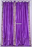 Lined-Lavender Tie Top Sheer Sari Cafe Curtain / Drape – 43W x 36L – Piece Review