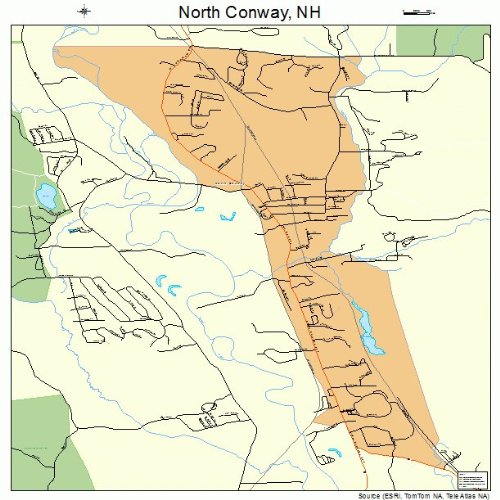 Large Street & Road Map of North Conway, New Hampshire NH - Printed poster size wall atlas of your home - North Nh Map Conway Of