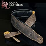 "Iconic Leathers 3.25"" Wide Lightly Distressed Dark Brown Dual Padded Leather Guitar and Bass Strap IL-5DBrn"