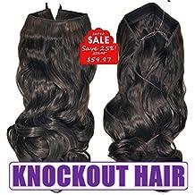 Knockout Hair 20-Inch Fiber Wavy Hair Extensions, 150 Grams,  #02/04L - Natural Black/Dark Chocolate Brown