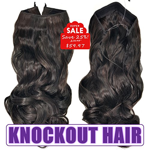 Knockout Hair 20-Inch Fiber Wavy Hair Extensions, 150 Grams,  #02/04L – Natural Black/Dark Chocolate Brown Review