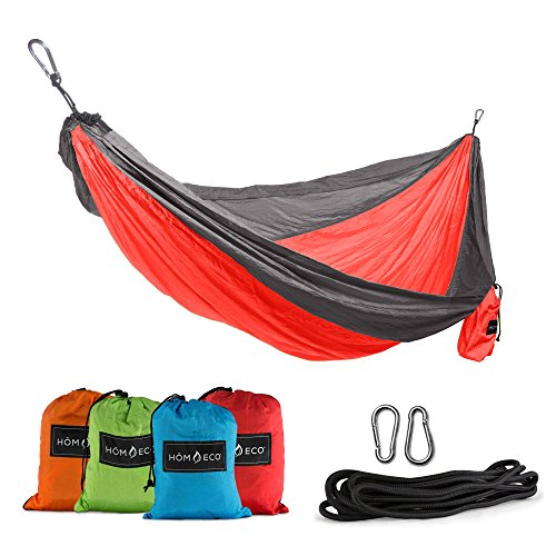 HŌMECO Double and Single Camping Hammock, Lightweight Nylon Parachute Travel Hammocks (Red, Single)