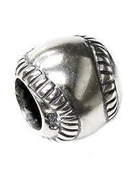 .925 Sterling Silver Sport Round Baseball Bead for European Chamilia Biagi Troll Pandora Charm Bracelets