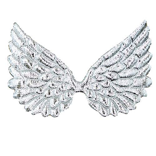 (Glitter Fabric Angel Wings Embossed Angel Wing Appliques for DIY Craft Project, Hair Accessory - Pack of 10 PCS (Metallic Silver))