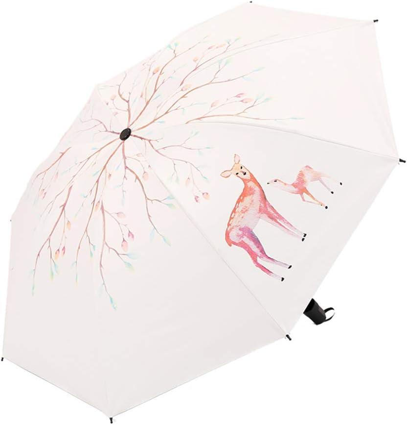 JUNDY Paraguas Plegable a Prueba de Viento de la protección Solar de la Moda Paraguas Fawn Paraguas Negro plástico Protector Solar Paraguas color1 98cm: Amazon.es: Hogar