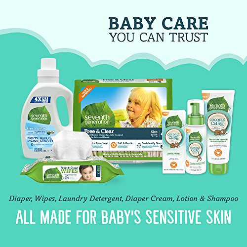 Seventh Generation Baby Diapers, Free and Clear for Sensitive Skin, Original Unprinted, Newborn, 144 Count