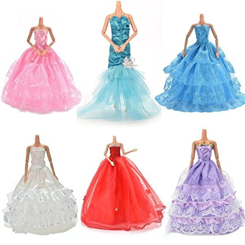 [Buytra 6 Pack Doll Accessories Handmade Fashion Party Gown Wedding Dresses & Clothes for Barbie Doll Girl's Birthday Gifts Christmas Present] (Barbie Dress For Toddlers)