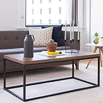 Nathan Home 31101 Doxa Solid Wood Modern Industrial Coffee Table, Black  Metal Box Frame With
