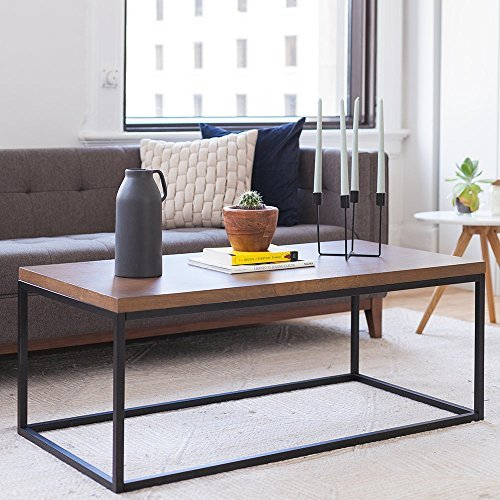 Nathan Home 31101 Doxa Solid Wood Modern Industrial Coffee Table, Black Metal Box Frame With Dark Walnut (Large Oak Veneer)