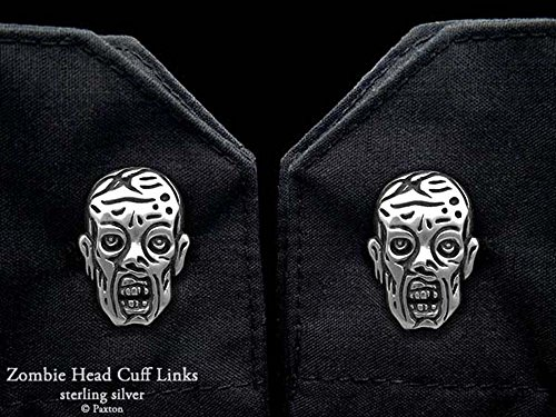 Zombie Cuff Links in Solid Sterling Silver Hand Carved & Cast by Paxton by Paxton Jewelry