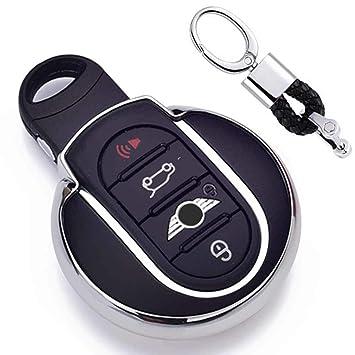 Plateado Funda de TPU Suave para Llave + Llavero para Coche BMW Mini Cooper F54 F55 F56 F57 F60 3/4-Buttons Smart Key