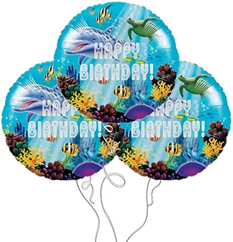 Ocean Party Happy Birthday Mylar Balloons - 3 Pack