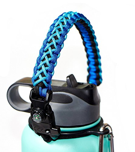WaterFit Paracord Carrier Strap Cord with Safety Ring and Carabiner for 12-Ounce to 64-Ounce Wide Mouth Water Bottles, DoubleBlue/Compass+FireStarter