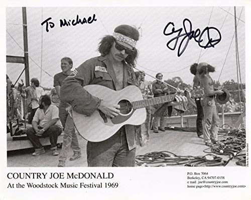 COUNTRY JOE MCDONALD HAND SIGNED 8x10 PHOTO FOLK MUSIC LEGEND TO MICHAEL from Hollywood Memorabilia