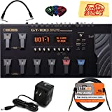 Boss GT-100 Amp Effects Processor Pedal Bundle with Instrument Cable, Patch Cable, Power Supply, Picks, and Austin Bazaar Polishing Cloth