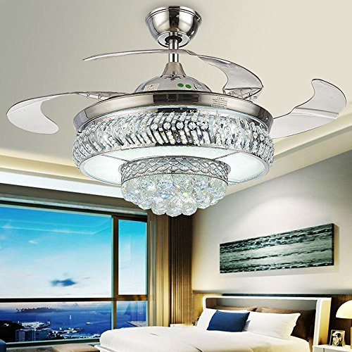 Huston Fan Modern Chandelier Fan Crystal Light Fixtures Ceiling Fan Remote Control Silver Mute Variable Light Ceiling Fan Light With 4 Clear Retractable Blade Bedroom Living Room Invisible LED 42 (Modern Silver Ceiling Fixture)