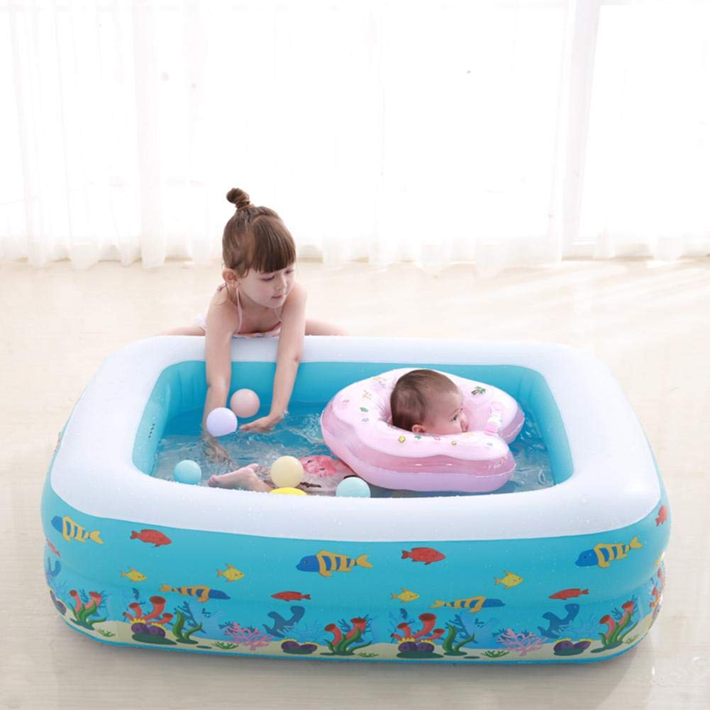 HEIRAO Inflatable Paddling Pool 115 x 85 x 35 cm Rectangular Inflatable Family Paddling Pool for Kids Indoor /& Outdoor