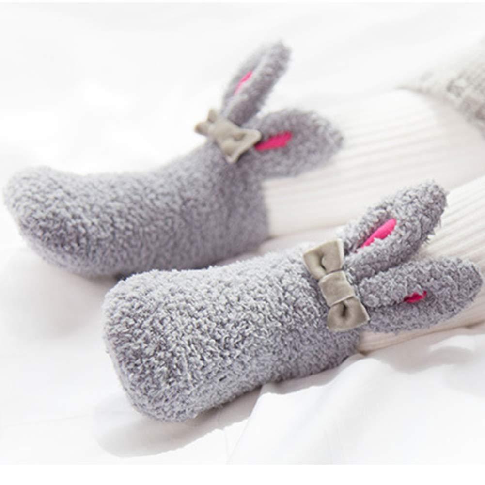 Rabbit - Calcetines de bebé para bebé, diseño de orejas de conejo 3D, cálidos y antideslizantes, de terciopelo coral suave, para recién nacido, ...