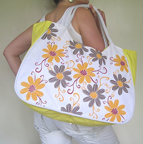 52x internal Orange Flowers with Beach Grey Yellow useful W H D Bag purse LARGE 21cm with amp; 33x fIwPapqw