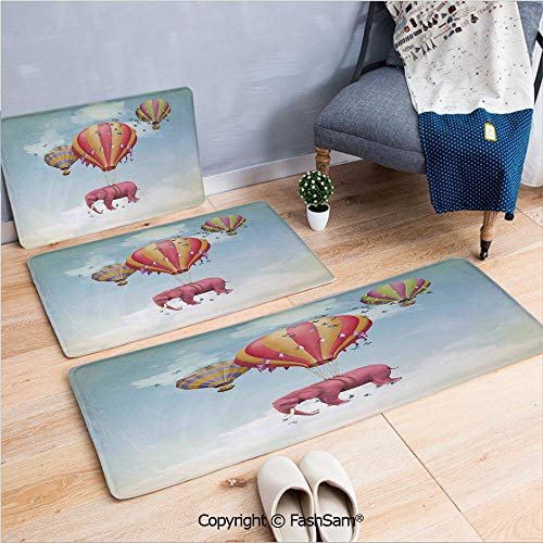 3 Piece Non Slip Flannel Door Mat Pink Elephant in The Sky with Balloons Illustration Daydream Fairytale Travel Decorative Indoor Carpet for Bath Kitchen(W15.7xL23.6 by W19.6xL31.5 by W19.6xL59) ()