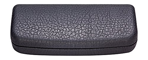 Hard Eyeglass Case, Glasses Case For Women, Men, Girls, Boys- Faux Distressed Leather, Black