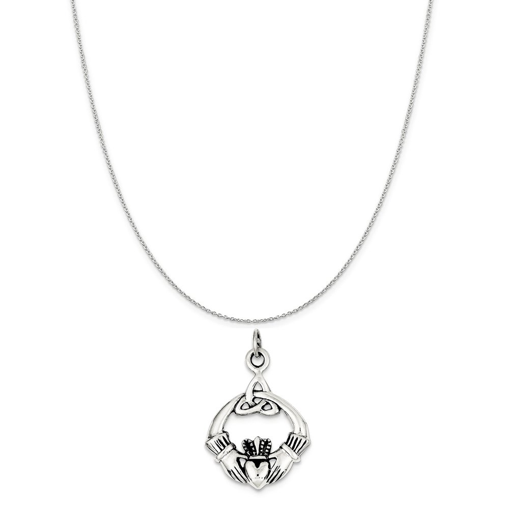 Sterling Silver Antiqued Claddagh Pendant on a Sterling Silver Cable Snake or Ball Chain Necklace