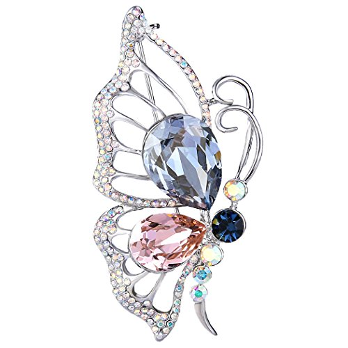EleQueen Women's Silver-tone Flying Butterfly Brooch Pin Multicolor Adorned with Swarovski Crystals by EleQueen