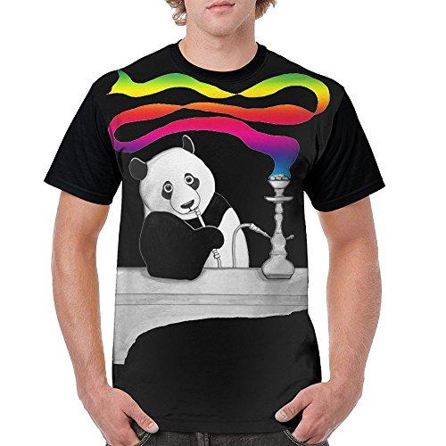 Quzim Panda Smoking Hookah With Rainbow Smoke Jersey Baseball Tee T Shirts For Men Tshirt