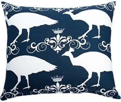 The Well Dressed Bed Accent Pillow, 20 by 20-Inch, Navy/Peacock
