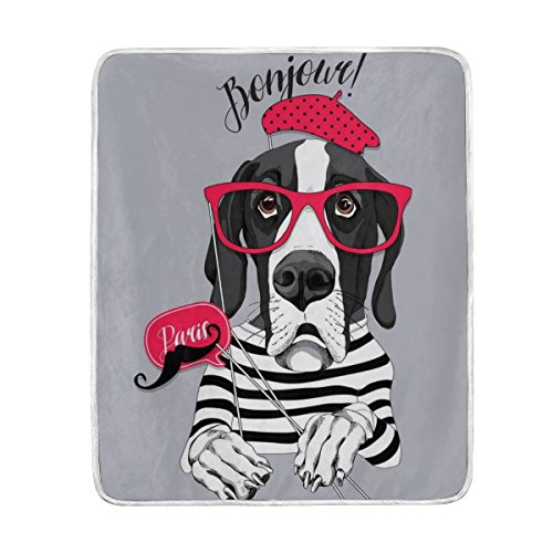 Chen Miranda Great Dane Dog In Striped T-Shirt Blanket Super Soft Lightweight Warm Blanket Microfiber Season Blanket 50x60 inches for Bed Sofa Couch Office Home Decor -