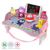 Idefair Kids Travel Tray, Car Seat Activity Snack and Play Tray for Children or Toddlers, Fun Lap Desk for Kids with Tablet, Phone & Cup Holder - Pink