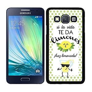 Funda carcasa para Samsung Galaxy A3 diseño ilustración frase si la vida te da limones, ¡haz limonada! borde negro