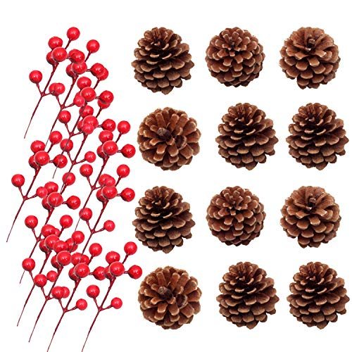 Inxens Christmas Berries Pinecone Ornaments Christmas Tree Set of 24 (12 Pine Cones + 12 Artificial Berry) -