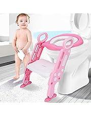 Leting Asiento con Escalera Orinal Silla del tocador de Niños para WC, Escalón Plegable Orinal Ajustable para Niños de 1-7 Años