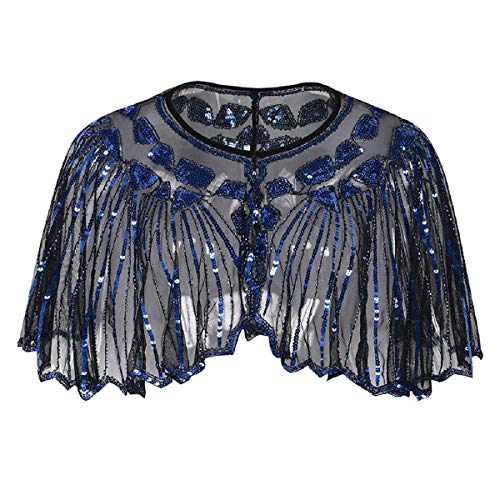 - Wintialy Women's 1920s Shawl Beaded Sequin Deco Evening Cape Bolero Flapper Cover up Blue