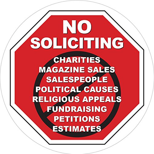 No Soliciting Inside Window Static Cling Decal in Red for Home and Business - Easy to Remove and Reposition - Approx. 5 in x 5 (Vinyl Cling Signs)